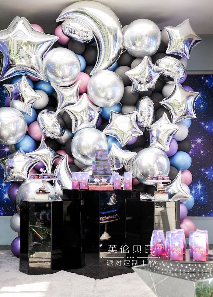 """Galaxy Dessert Table from a Galactic """"Out of this World"""" Birthday Party on Kara"""