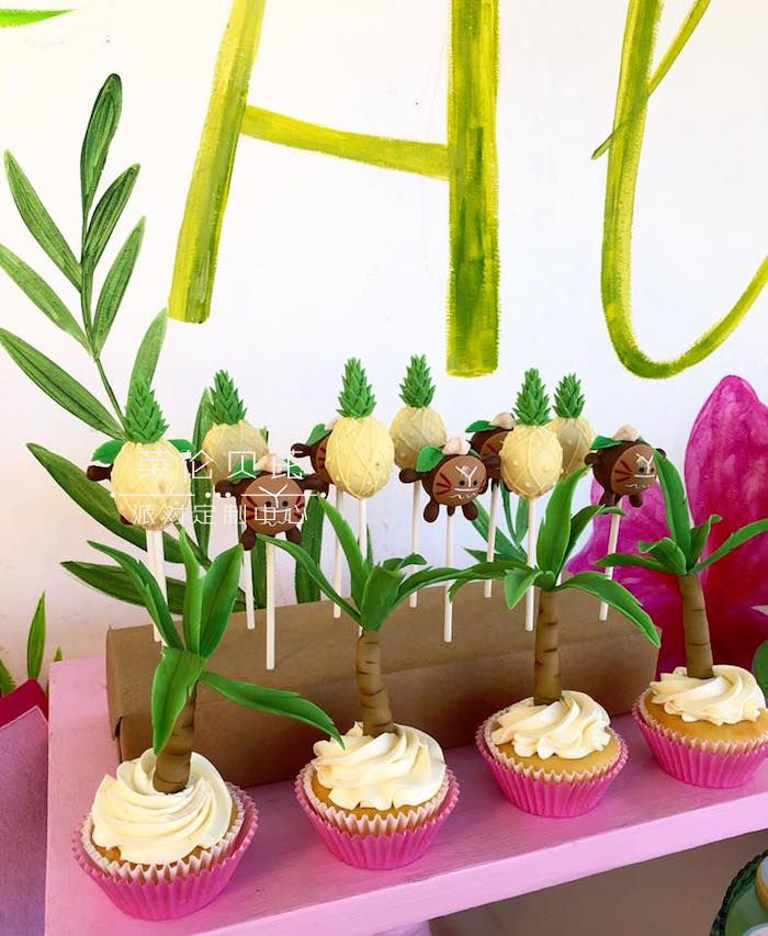 Tropical Cupcakes and Cake Pops from a Moana Birthday Party Luau on Kara