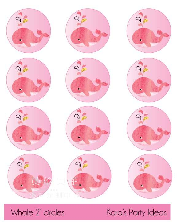 """Free baby shower printables pink whale 2"""" circles for cupcake toppers"""