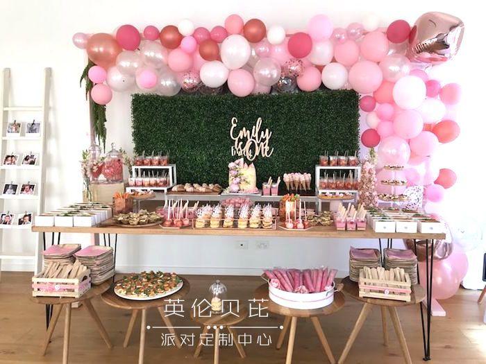 粉红玫瑰金生日派对