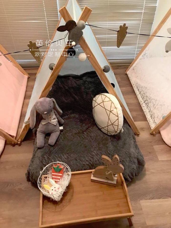 Slumber Tent from a Rustic Bunny Sleepover Party on Kara