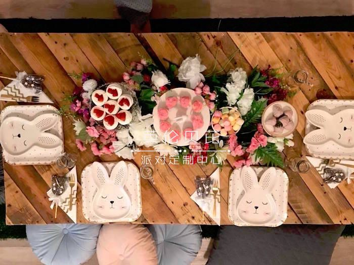 Bunny Guest Table from a Rustic Bunny Sleepover Party on Kara