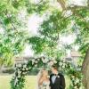 优雅的灰蓝色花园婚礼布置