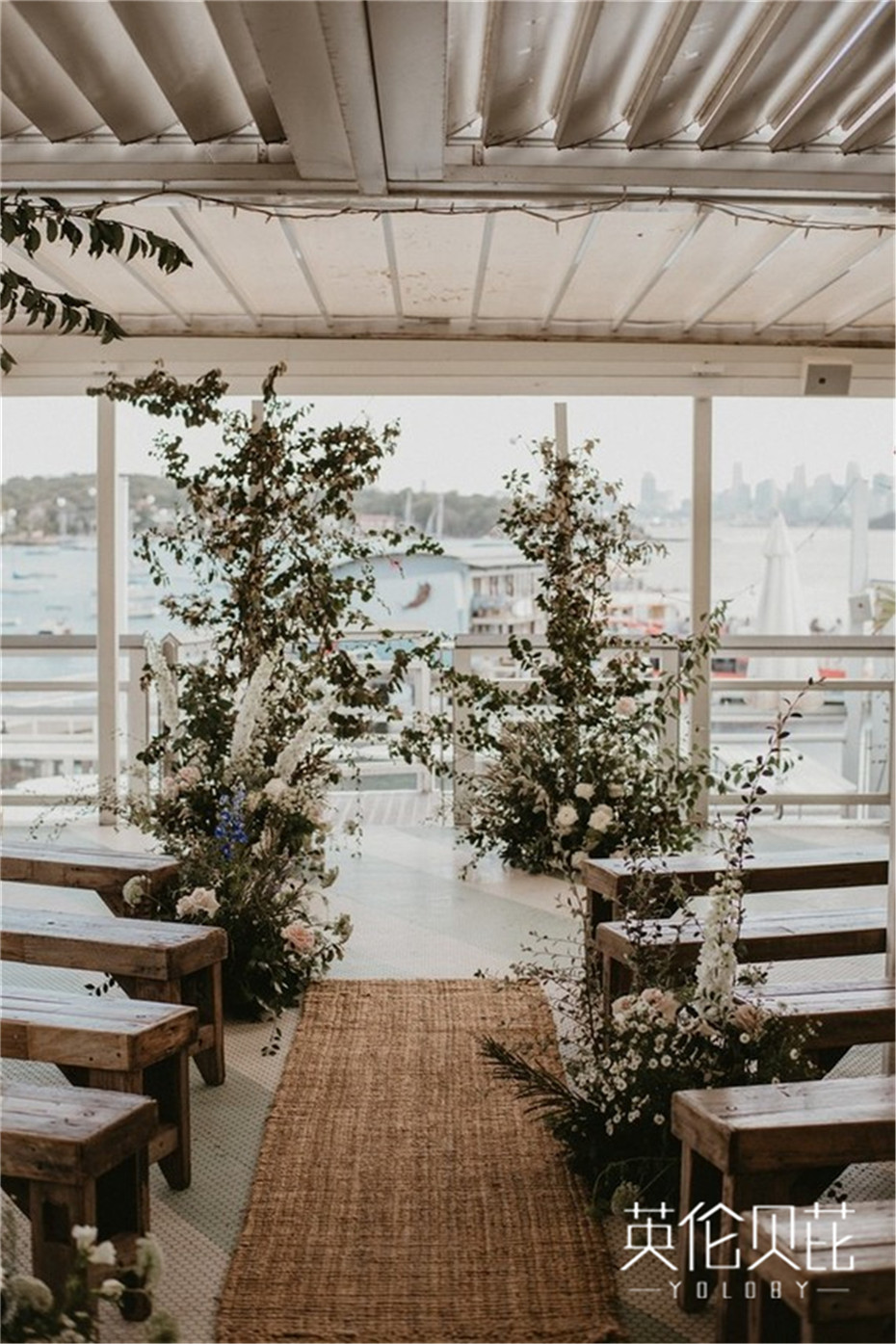浪漫的老式沿海婚庆氛围